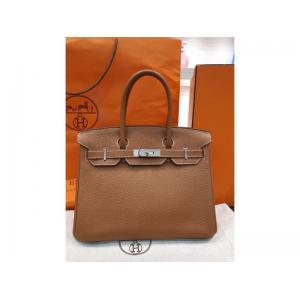 "HERMES Birkin 30 Gold Togo Leather Silver Hardware ""Q"""