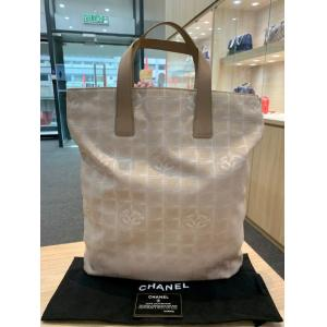 CHANEL Beige Canvas Shopping Tote