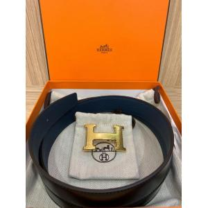 NEW - HERMES BELT Togo Leather 32mm Blue/Black Gold-Tone Metal H Mosaics Stripe Buckle