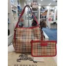 BURBERRY Haymarket Check Canvas Tote With Red Patent Leather Trim