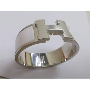 NEW - HERMES Clic Clac H PM White Wide Bracelet Enamel Palladium Plated Hardware