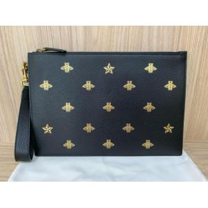 NEW - GUCCI Bee Star Black Leather Pouch
