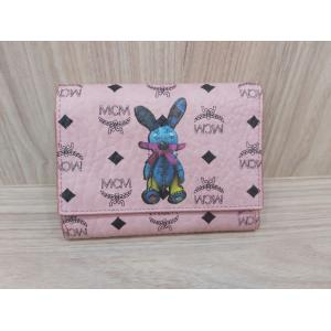 SOLD - MCM Small Rabbit Visetos Trifold Wallet Soft Pink