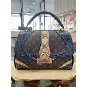 LIMITED - NEW - LV Monogram Navy Blue Alligator Python Kelly Bowler Bag